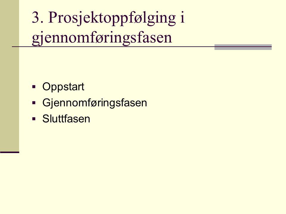 3. Prosjektoppfølging i gjennomføringsfasen  Oppstart  Gjennomføringsfasen  Sluttfasen