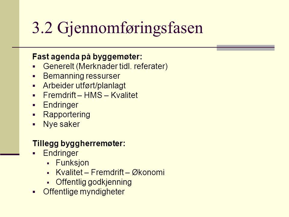 3.2 Gjennomføringsfasen Fast agenda på byggemøter:  Generelt (Merknader tidl. referater)  Bemanning ressurser  Arbeider utført/planlagt  Fremdrift