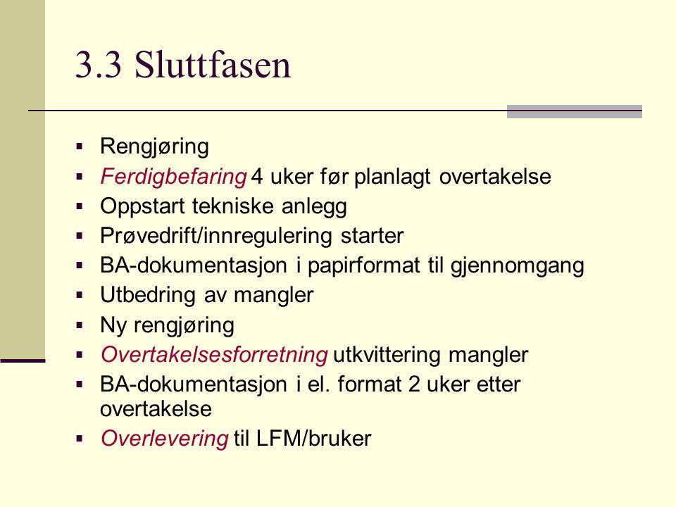 3.3 Sluttfasen  Rengjøring  Ferdigbefaring 4 uker før planlagt overtakelse  Oppstart tekniske anlegg  Prøvedrift/innregulering starter  BA-dokume