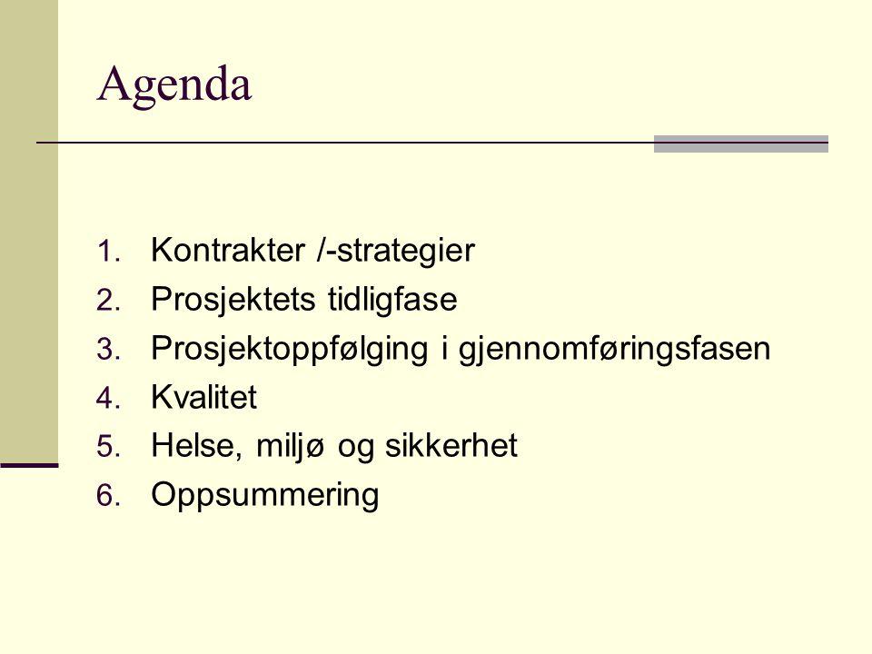 Agenda 1. Kontrakter /-strategier 2. Prosjektets tidligfase 3. Prosjektoppfølging i gjennomføringsfasen 4. Kvalitet 5. Helse, miljø og sikkerhet 6. Op