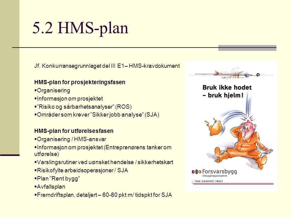 """5.2 HMS-plan Jf. Konkurransegrunnlaget del III E1– HMS-kravdokument HMS-plan for prosjekteringsfasen  Organisering  Informasjon om prosjektet  """"Ris"""