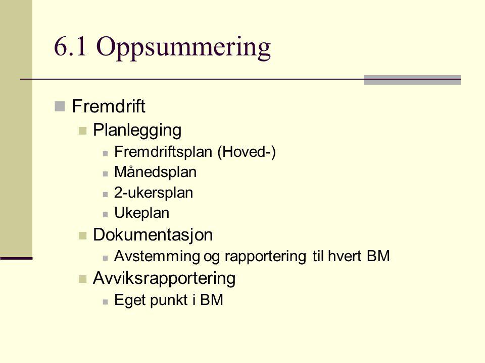 6.1 Oppsummering  Fremdrift  Planlegging  Fremdriftsplan (Hoved-)  Månedsplan  2-ukersplan  Ukeplan  Dokumentasjon  Avstemming og rapportering