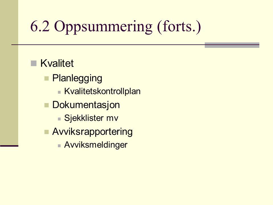 6.2 Oppsummering (forts.)  Kvalitet  Planlegging  Kvalitetskontrollplan  Dokumentasjon  Sjekklister mv  Avviksrapportering  Avviksmeldinger