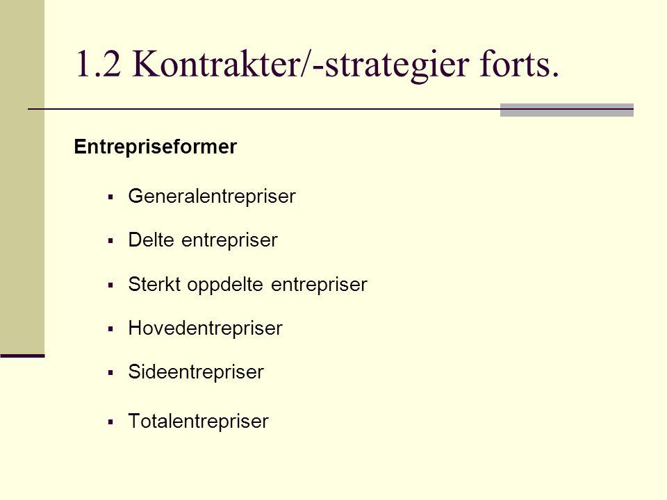 1.2 Kontrakter/-strategier forts. Entrepriseformer  Generalentrepriser  Delte entrepriser  Sterkt oppdelte entrepriser  Hovedentrepriser  Sideent