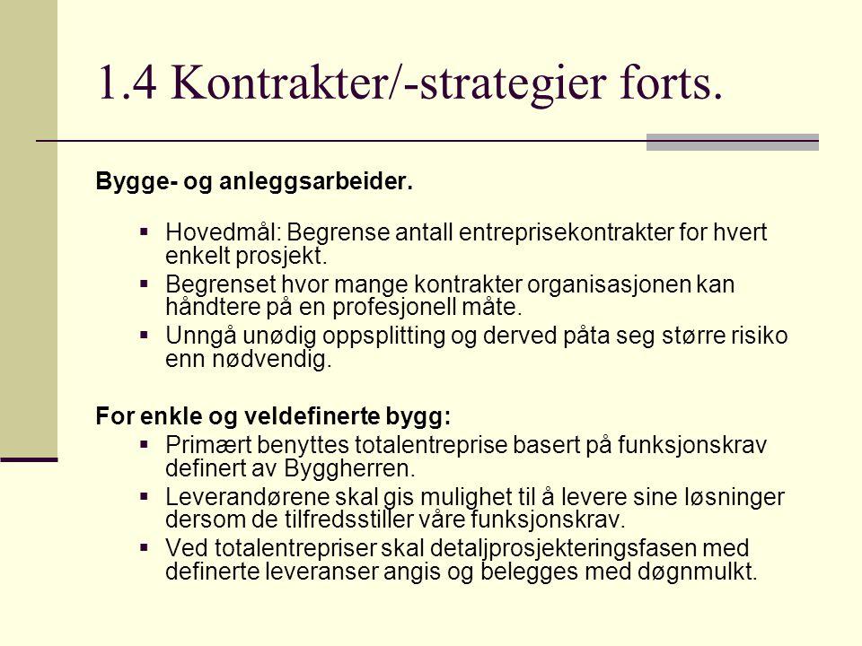 1.4 Kontrakter/-strategier forts. Bygge- og anleggsarbeider.  Hovedmål: Begrense antall entreprisekontrakter for hvert enkelt prosjekt.  Begrenset h