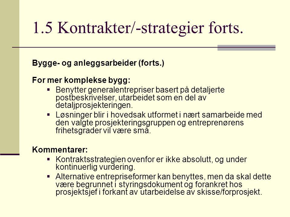 1.5 Kontrakter/-strategier forts. Bygge- og anleggsarbeider (forts.) For mer komplekse bygg:  Benytter generalentrepriser basert på detaljerte postbe