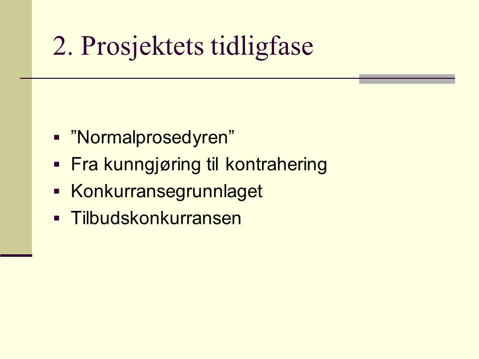 """2. Prosjektets tidligfase  """"Normalprosedyren""""  Fra kunngjøring til kontrahering  Konkurransegrunnlaget  Tilbudskonkurransen"""