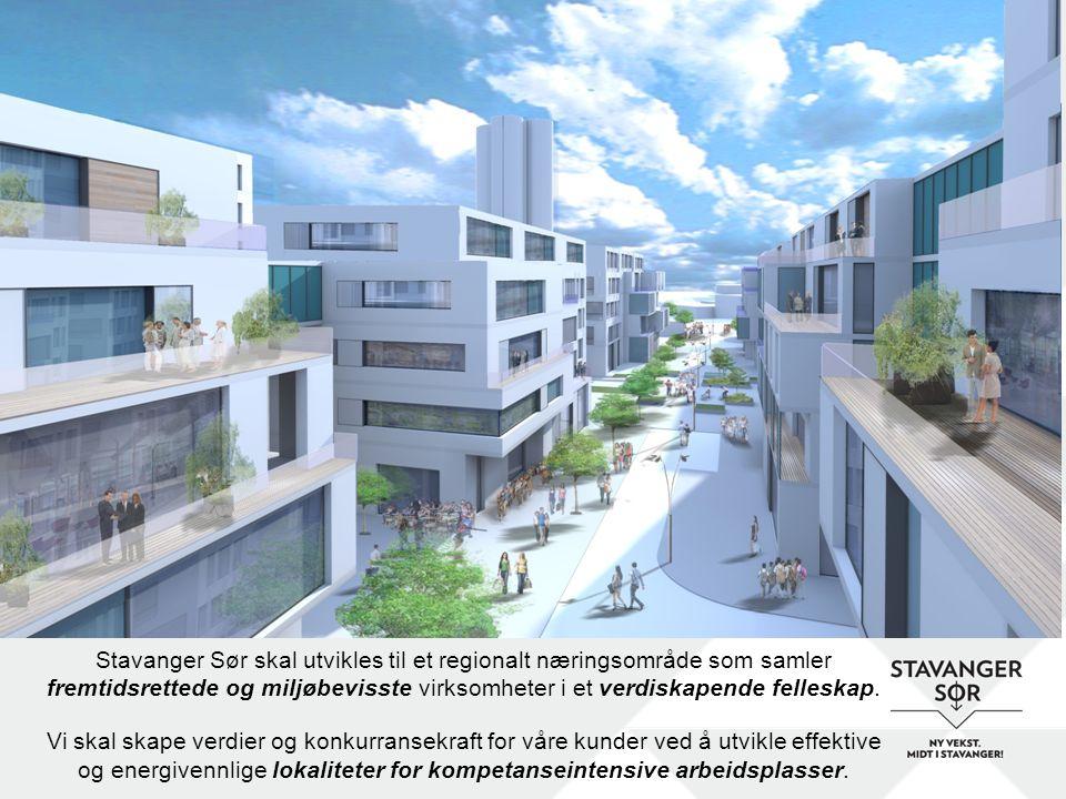 Stavanger Sør skal utvikles til et regionalt næringsområde som samler fremtidsrettede og miljøbevisste virksomheter i et verdiskapende felleskap. Vi s