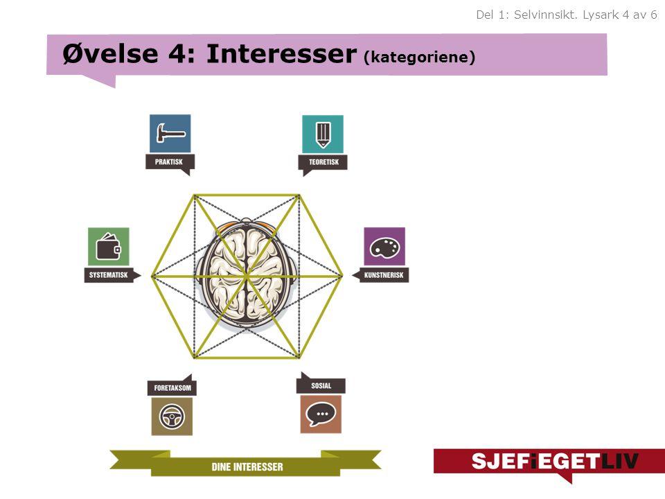 Øvelse 4: Interesser (kategoriene) Del 1: Selvinnsikt. Lysark 4 av 6