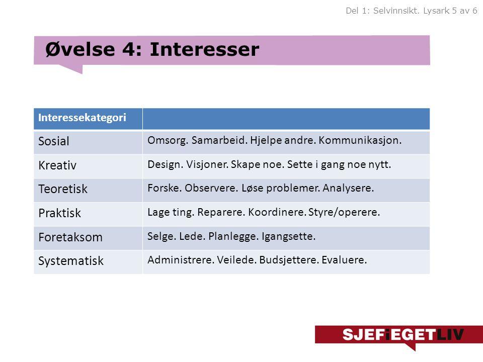 Øvelse 4: Interesser (eks. på yrkeskort) Del 1: Selvinnsikt. Lysark 6 av 6