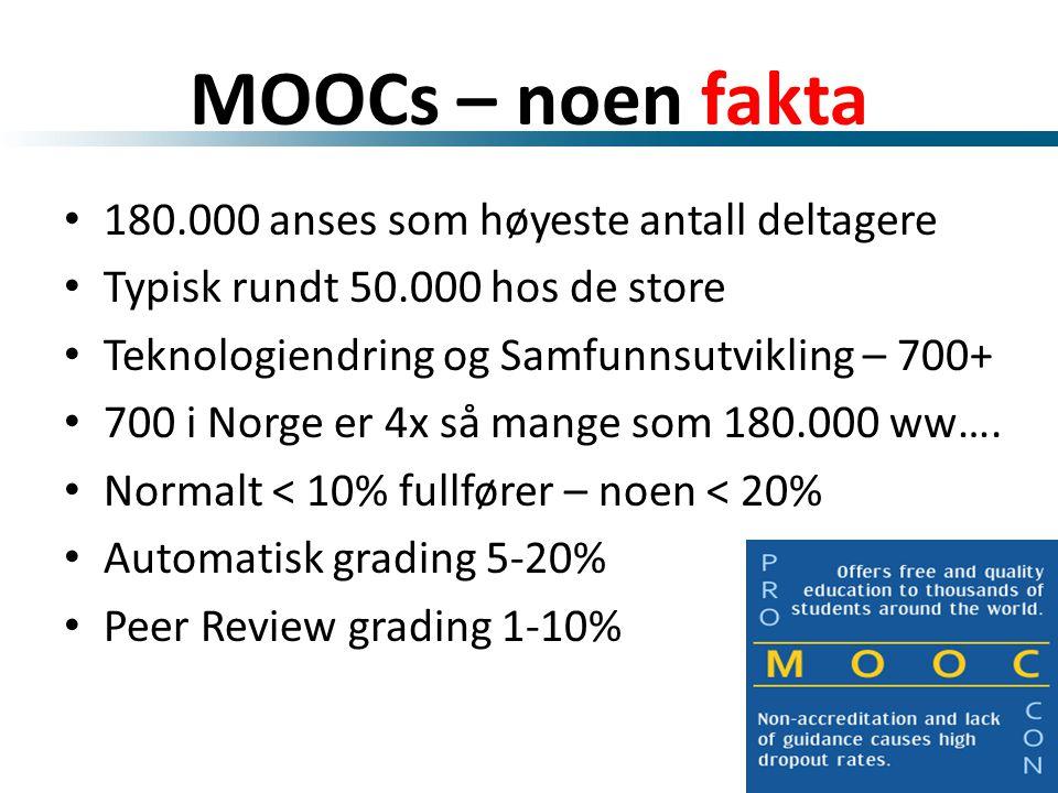 MOOCs – noen fakta • 180.000 anses som høyeste antall deltagere • Typisk rundt 50.000 hos de store • Teknologiendring og Samfunnsutvikling – 700+ • 700 i Norge er 4x så mange som 180.000 ww….