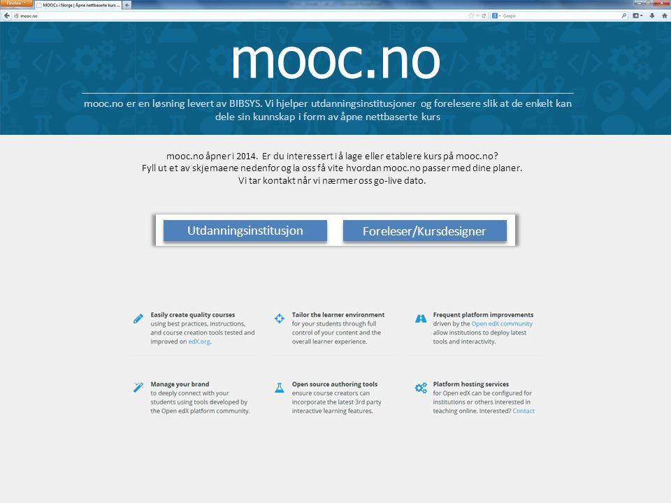 mooc.no mooc.no er en løsning levert av BIBSYS.