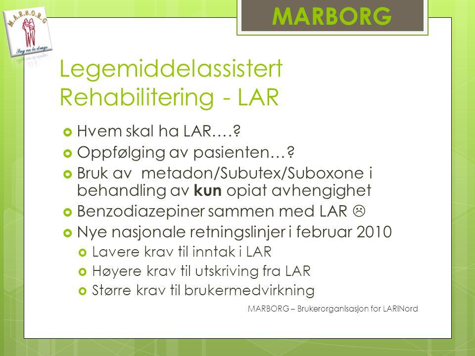 Legemiddelassistert Rehabilitering - LAR  Hvem skal ha LAR…..