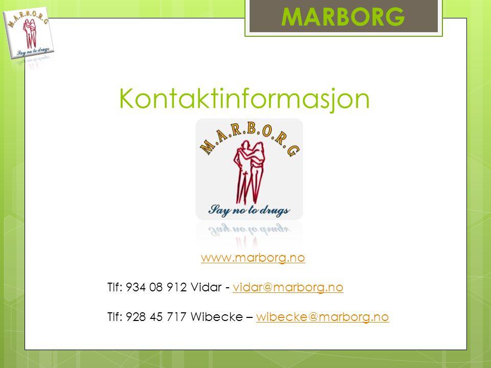 Kontaktinformasjon MARBORG www.marborg.no Tlf: 934 08 912 Vidar - vidar@marborg.novidar@marborg.no Tlf: 928 45 717 Wibecke – wibecke@marborg.nowibecke@marborg.no