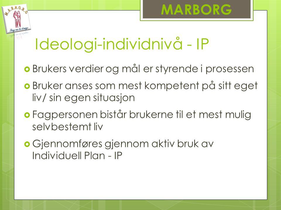 Ideologi-individnivå - IP  Brukers verdier og mål er styrende i prosessen  Bruker anses som mest kompetent på sitt eget liv/ sin egen situasjon  Fagpersonen bistår brukerne til et mest mulig selvbestemt liv  Gjennomføres gjennom aktiv bruk av Individuell Plan - IP