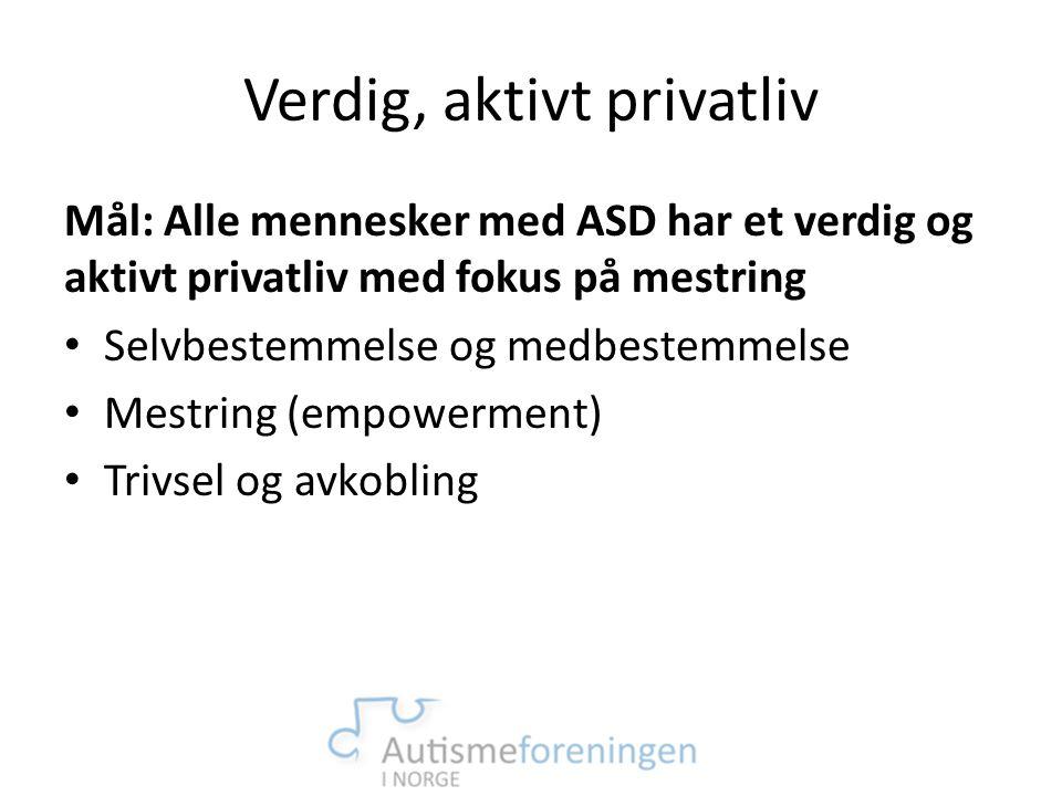 Verdig, aktivt privatliv Mål: Alle mennesker med ASD har et verdig og aktivt privatliv med fokus på mestring • Selvbestemmelse og medbestemmelse • Mes
