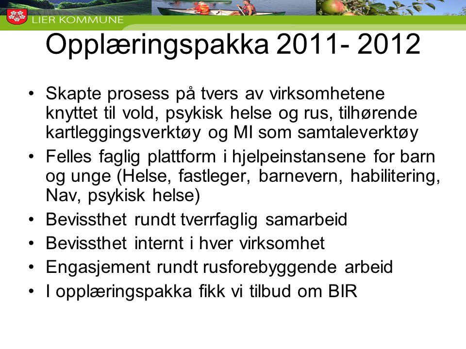 Opplæringspakka 2011- 2012 •Skapte prosess på tvers av virksomhetene knyttet til vold, psykisk helse og rus, tilhørende kartleggingsverktøy og MI som
