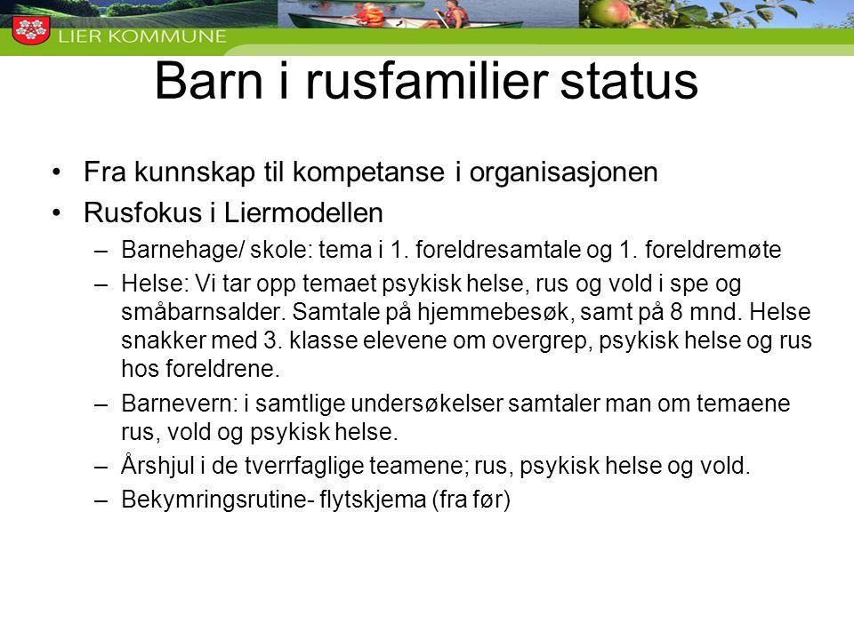 Barn i rusfamilier status •Fra kunnskap til kompetanse i organisasjonen •Rusfokus i Liermodellen –Barnehage/ skole: tema i 1. foreldresamtale og 1. fo