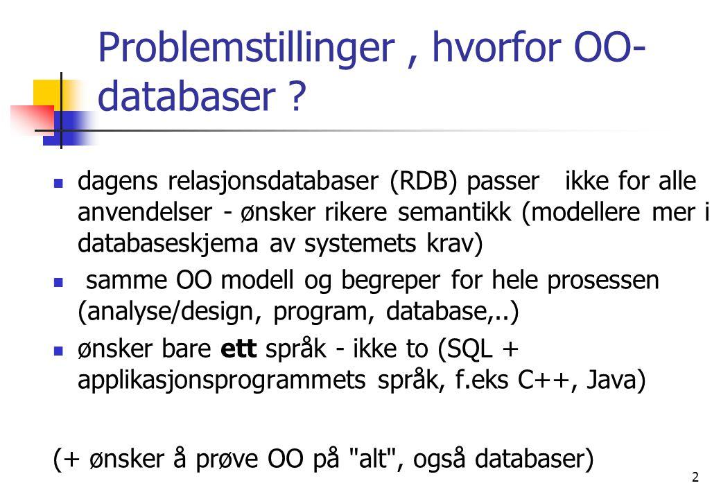 3 Dagens Objektorienterte databaser- To retninger  Utbygging av SQL (Sybase, Oracle 8 og 9)  Utbygging av prog.språk som C++, Smalltalk og Java (GemStone, ObjectStore,O 2 og Objectivity)  Data og pekere lagres, men ikke (like bra) program  ONTOS, O2 (Ardent) og GemStone minner noe om nettverks (CODASYL) databaser.