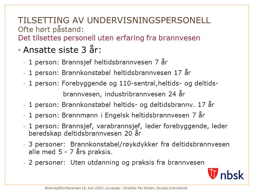 Brannsjefkonferansen 18. Juni 2005, Levanger - Direktør Per Stølan, Norges brannskole TILSETTING AV UNDERVISNINGSPERSONELL Ofte hørt påstand: Det tils