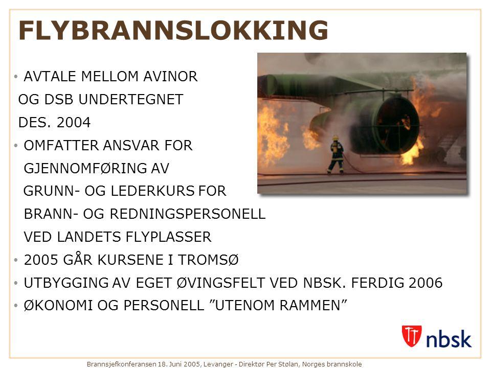 Brannsjefkonferansen 18. Juni 2005, Levanger - Direktør Per Stølan, Norges brannskole FLYBRANNSLOKKING • AVTALE MELLOM AVINOR OG DSB UNDERTEGNET DES.