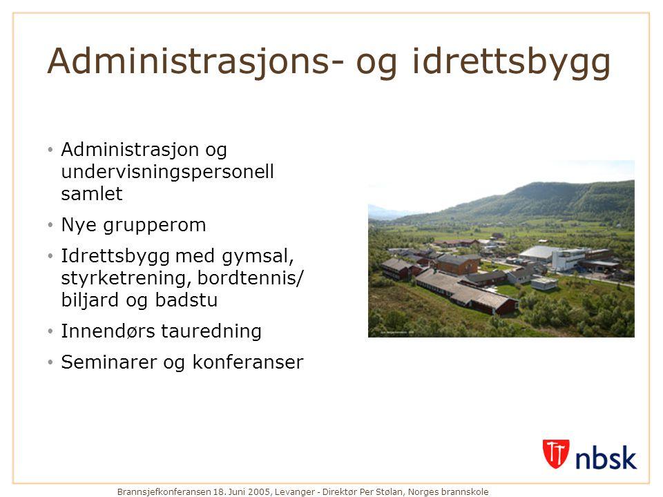 Brannsjefkonferansen 18. Juni 2005, Levanger - Direktør Per Stølan, Norges brannskole Administrasjons- og idrettsbygg • Administrasjon og undervisning