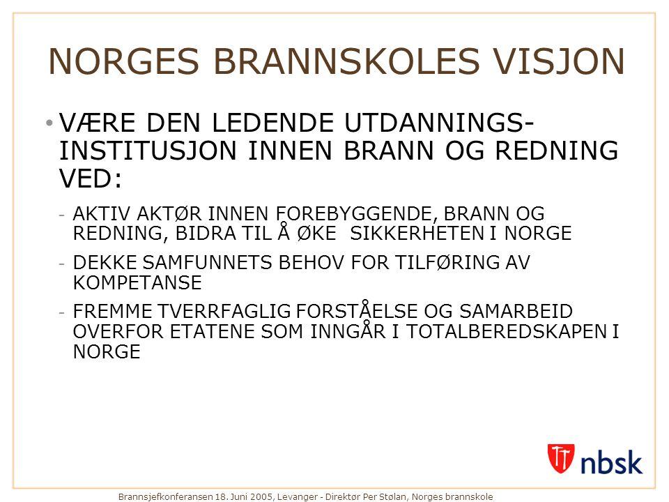 Brannsjefkonferansen 18. Juni 2005, Levanger - Direktør Per Stølan, Norges brannskole NORGES BRANNSKOLES VISJON • VÆRE DEN LEDENDE UTDANNINGS- INSTITU