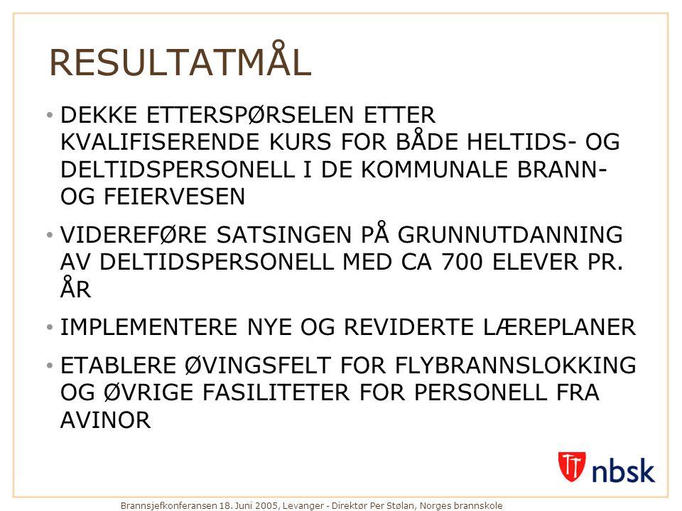 Brannsjefkonferansen 18. Juni 2005, Levanger - Direktør Per Stølan, Norges brannskole RESULTATMÅL • DEKKE ETTERSPØRSELEN ETTER KVALIFISERENDE KURS FOR