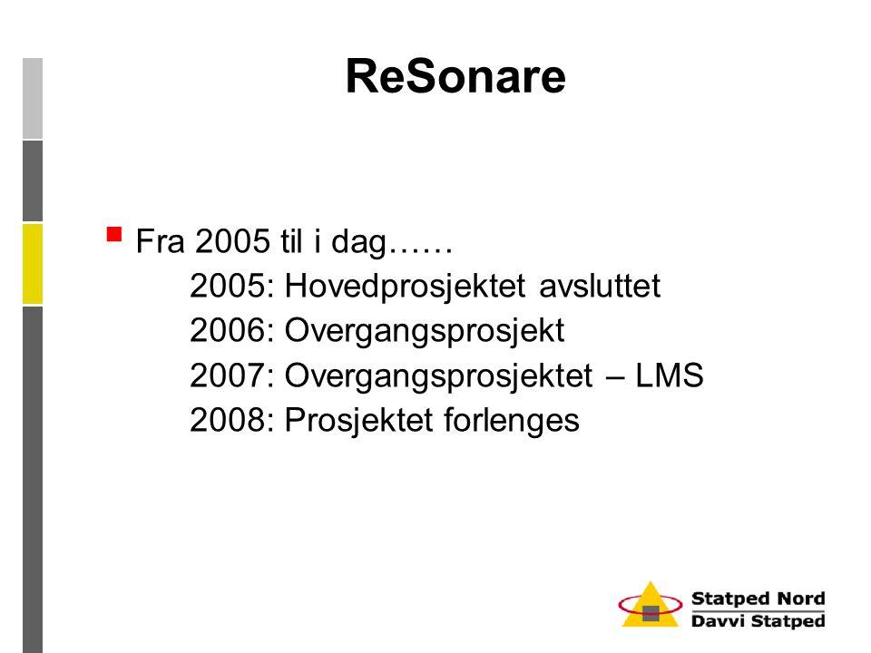 ReSonare  Fra 2005 til i dag…… 2005: Hovedprosjektet avsluttet 2006: Overgangsprosjekt 2007: Overgangsprosjektet – LMS 2008: Prosjektet forlenges