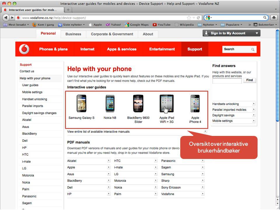 Oversikt over interaktive brukerhåndbøker