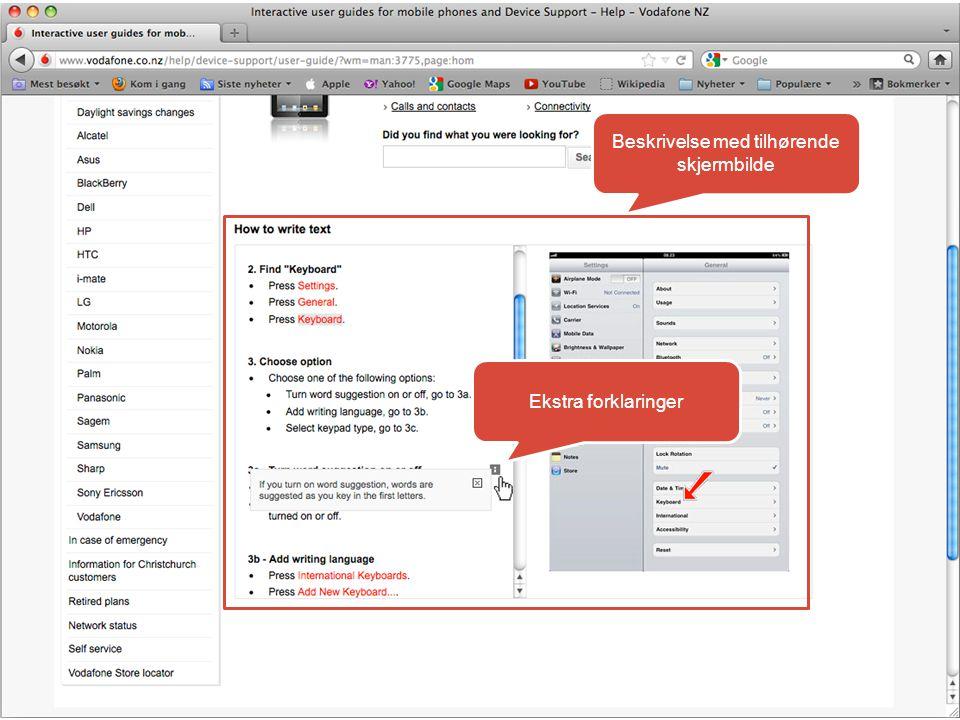 Beskrivelse med tilhørende skjermbilde Ekstra forklaringer