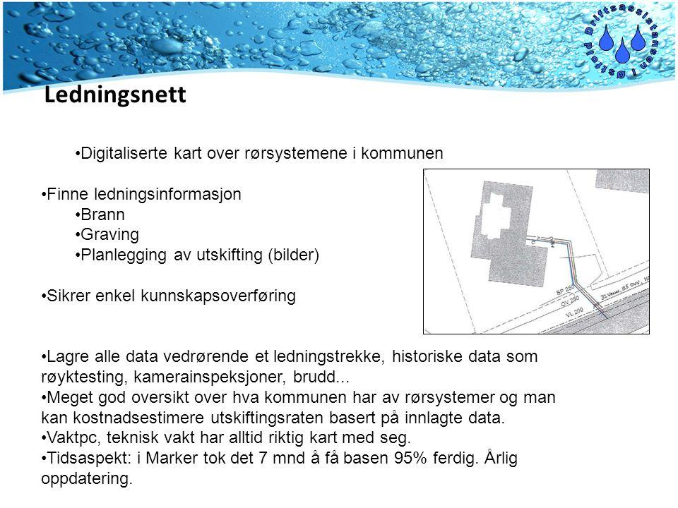 •Digitaliserte kart over rørsystemene i kommunen •Finne ledningsinformasjon •Brann •Graving •Planlegging av utskifting (bilder) •Sikrer enkel kunnskap