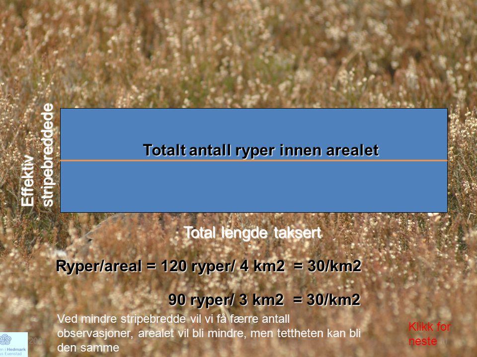 Effektiv stripebreddede Total lengde taksert Totalt antall ryper innen arealet Ryper/areal = 120 ryper/ 4 km2 = 30/km2 90 ryper/ 3 km2 = 30/km2 Ved mi