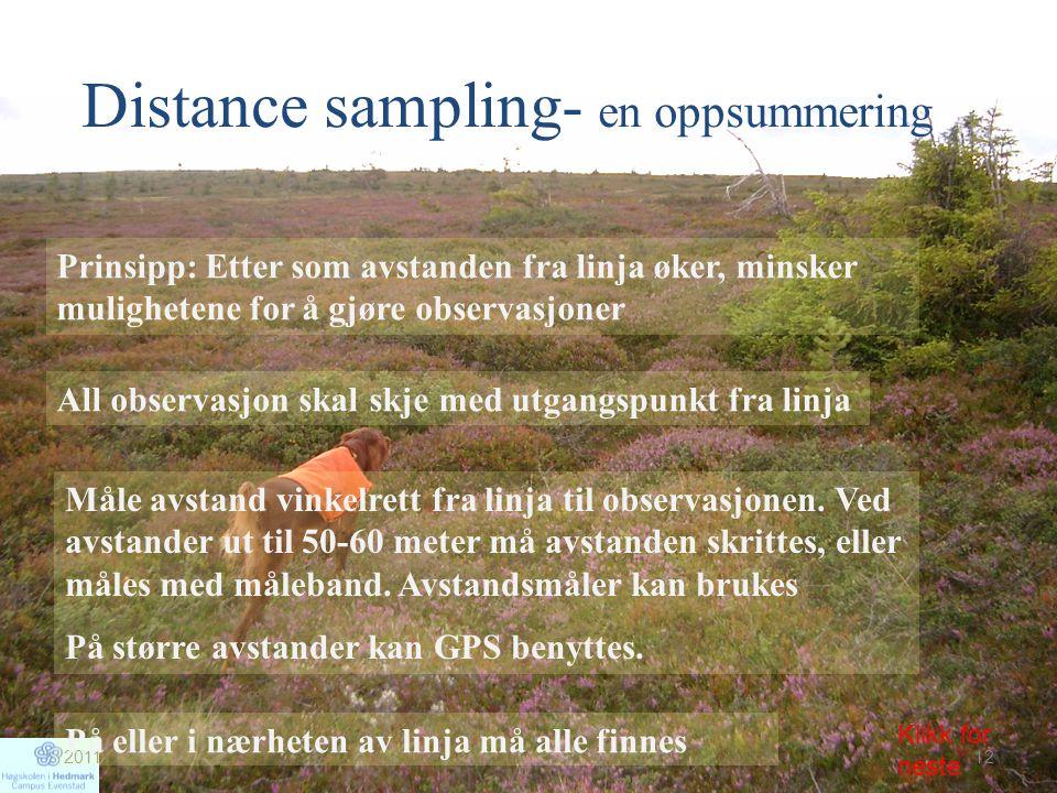 Distance sampling- en oppsummering Prinsipp: Etter som avstanden fra linja øker, minsker mulighetene for å gjøre observasjoner All observasjon skal sk