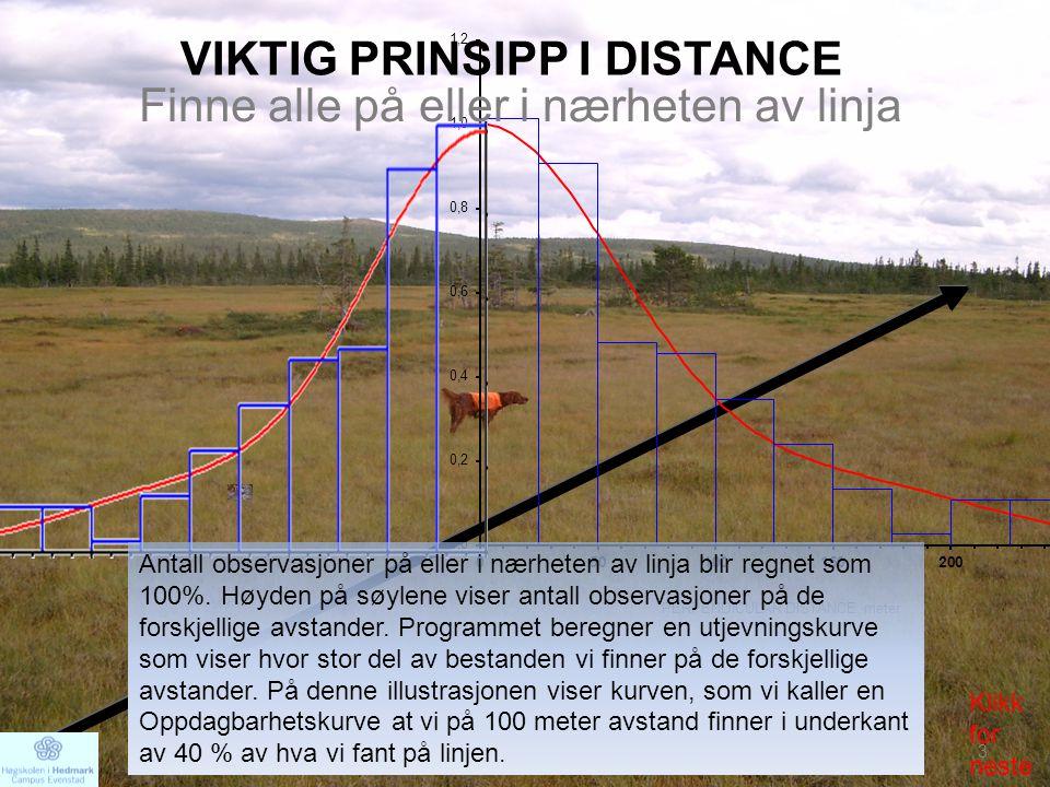 VIKTIG PRINSIPP I DISTANCE Antall observasjoner på eller i nærheten av linja blir regnet som 100%. Høyden på søylene viser antall observasjoner på de
