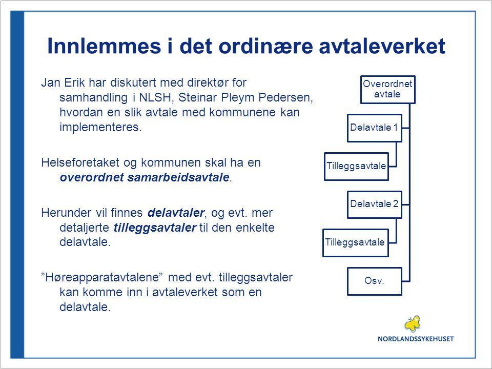 Innlemmes i det ordinære avtaleverket Jan Erik har diskutert med direktør for samhandling i NLSH, Steinar Pleym Pedersen, hvordan en slik avtale med kommunene kan implementeres.