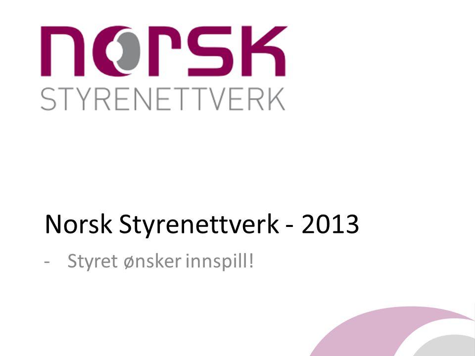 Norsk Styrenettverk - 2013 -Styret ønsker innspill!