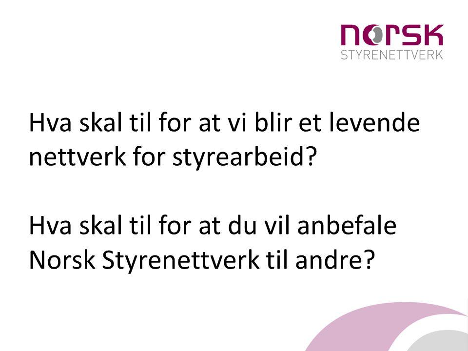 Hva skal til for at vi blir et levende nettverk for styrearbeid? Hva skal til for at du vil anbefale Norsk Styrenettverk til andre?