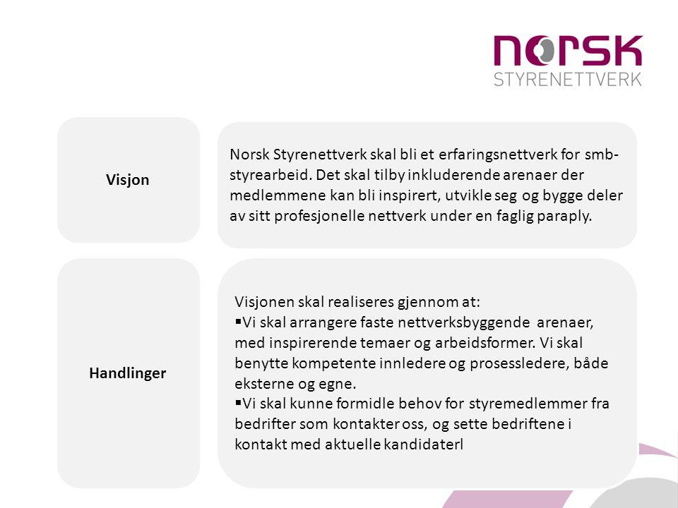 Norsk Styrenettverk skal bli et erfaringsnettverk for smb- styrearbeid. Det skal tilby inkluderende arenaer der medlemmene kan bli inspirert, utvikle