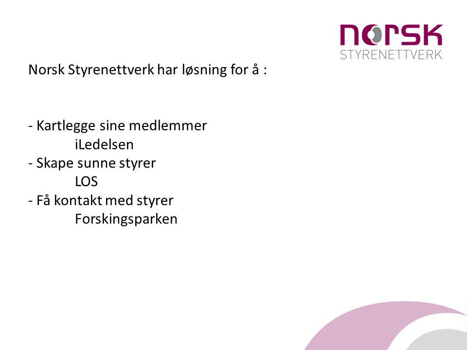 Norsk Styrenettverk har løsning for å : - Kartlegge sine medlemmer iLedelsen - Skape sunne styrer LOS - Få kontakt med styrer Forskingsparken