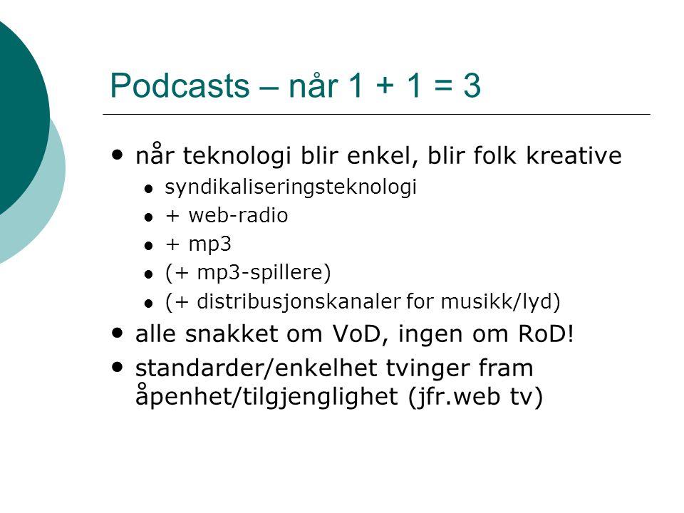 Podcasts – når 1 + 1 = 3 • når teknologi blir enkel, blir folk kreative  syndikaliseringsteknologi  + web-radio  + mp3  (+ mp3-spillere)  (+ dist