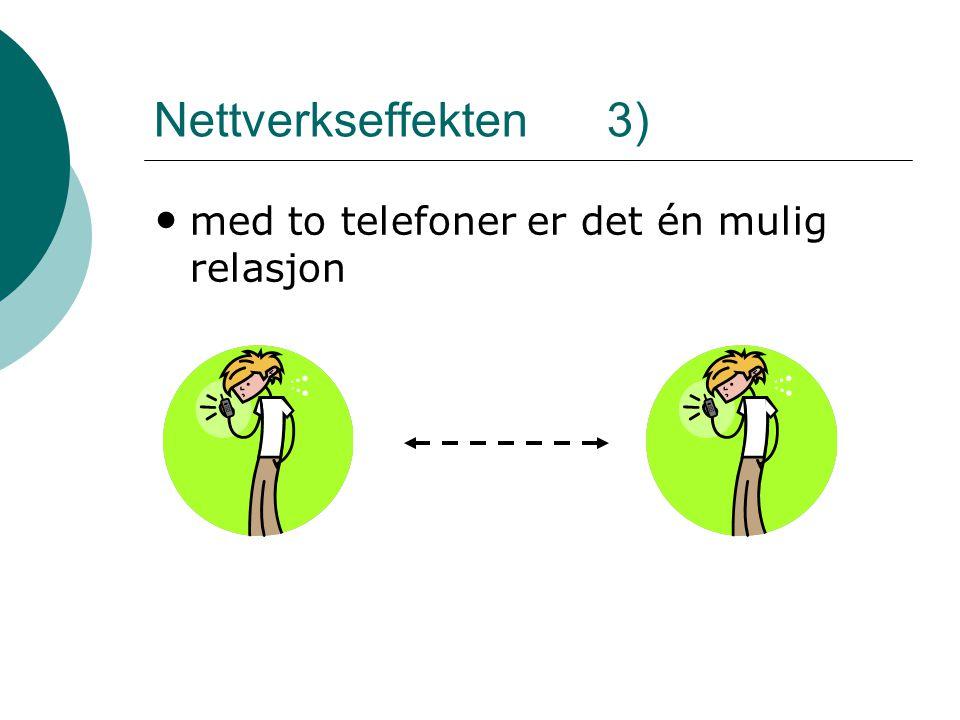 Nettverkseffekten 3) • med to telefoner er det én mulig relasjon
