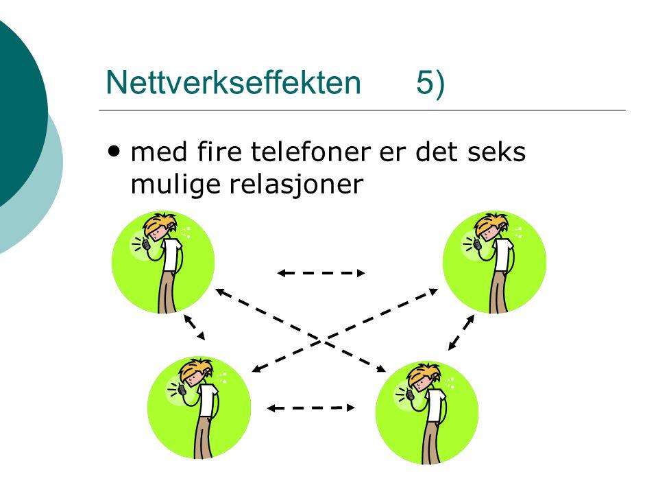 Nettverkseffekten 5) • med fire telefoner er det seks mulige relasjoner