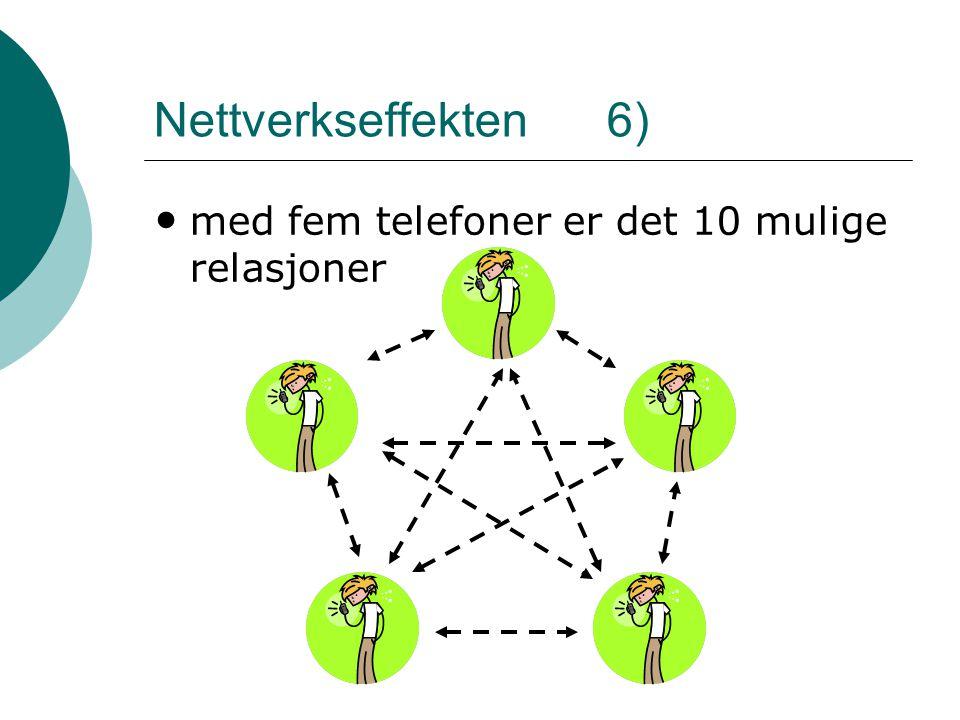 Nettverkseffekten 6) • med fem telefoner er det 10 mulige relasjoner