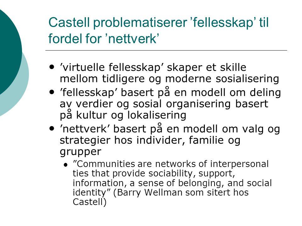 Castell problematiserer 'fellesskap' til fordel for 'nettverk' • 'virtuelle fellesskap' skaper et skille mellom tidligere og moderne sosialisering • '