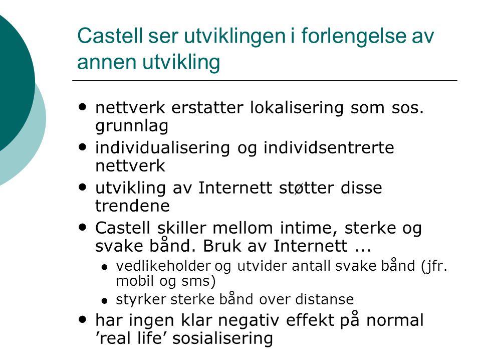 Castell ser utviklingen i forlengelse av annen utvikling • nettverk erstatter lokalisering som sos. grunnlag • individualisering og individsentrerte n