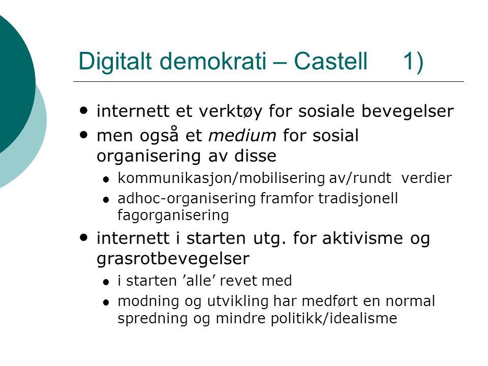 Digitalt demokrati – Castell 1) • internett et verktøy for sosiale bevegelser • men også et medium for sosial organisering av disse  kommunikasjon/mo