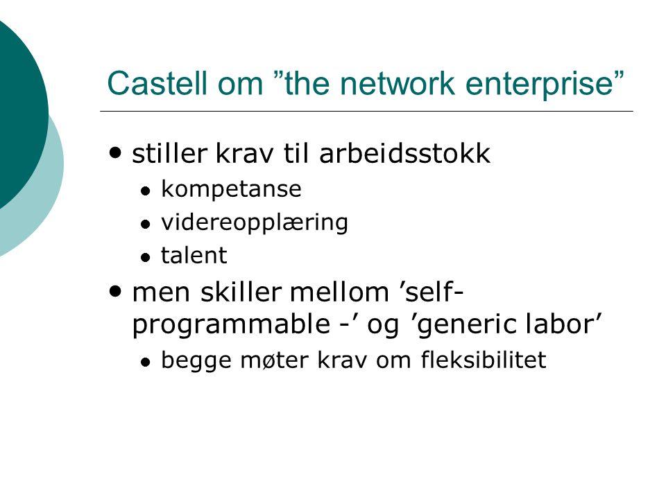 """Castell om """"the network enterprise"""" • stiller krav til arbeidsstokk  kompetanse  videreopplæring  talent • men skiller mellom 'self- programmable -"""