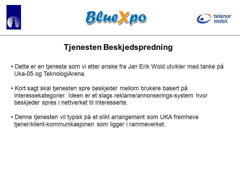 Tjenesten Beskjedspredning • Dette er en tjeneste som vi etter ønske fra Jan Erik Wold utvikler med tanke på Uka-05 og TeknologiArena.