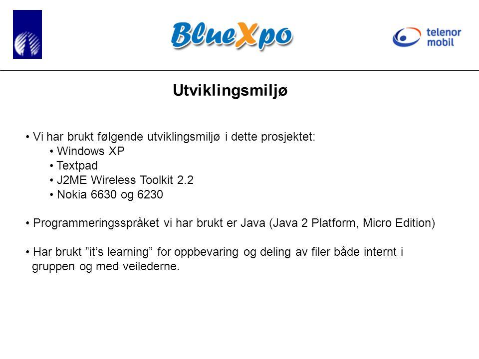 Utviklingsmiljø • Vi har brukt følgende utviklingsmiljø i dette prosjektet: • Windows XP • Textpad • J2ME Wireless Toolkit 2.2 • Nokia 6630 og 6230 • Programmeringsspråket vi har brukt er Java (Java 2 Platform, Micro Edition) • Har brukt it's learning for oppbevaring og deling av filer både internt i gruppen og med veilederne.